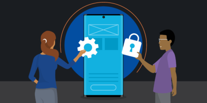 Vector image of two people and a Note10 in a security context