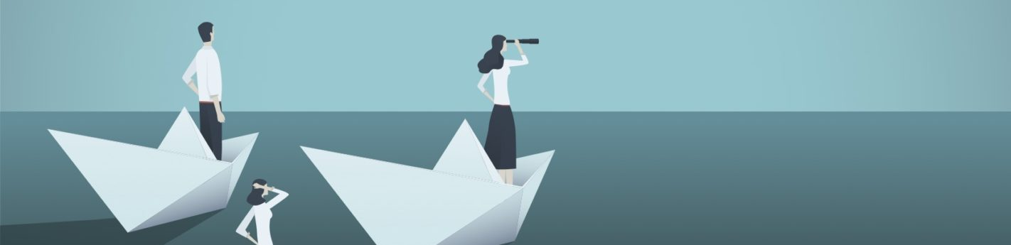 Businesswoman with telescope leading colleagues in paper boats to the horizon