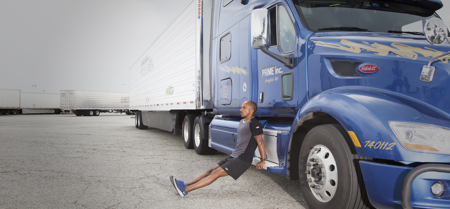 Trucker working out