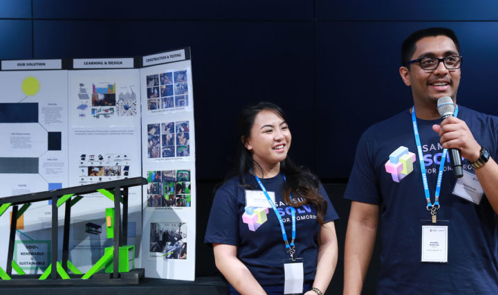 Shaneel Narayan and Jashene Tongco of Mission Valley ROP/James Logan High School of Fremont, CA, present solar powered charging station for electric vehicles at the Samsung Solve for Tomorrow Finalist Pitch Event on Tuesday, March 15, 2016 in New York.