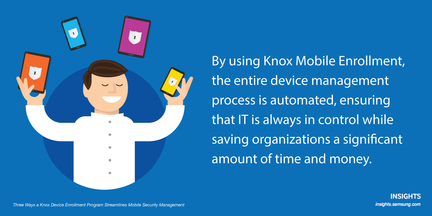 By using Knox Mobile Enrollment, the entire device management process is automated, ensuring that IT is always in control while saving organizations a significant amount of time and money.