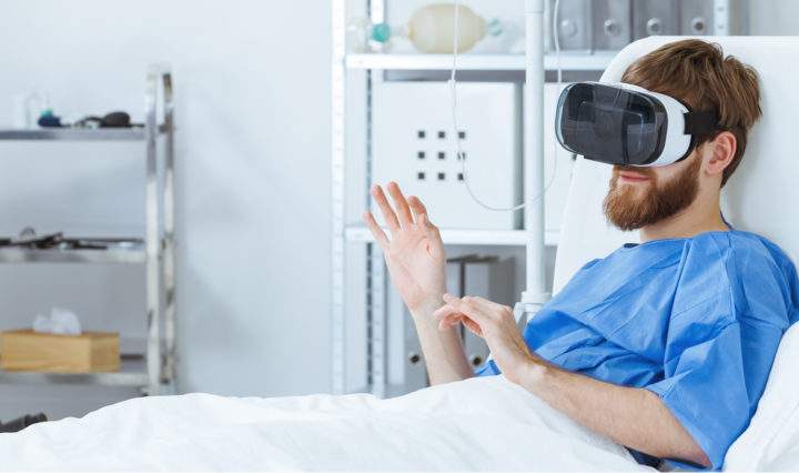 Hospital patient wearing a VR headset