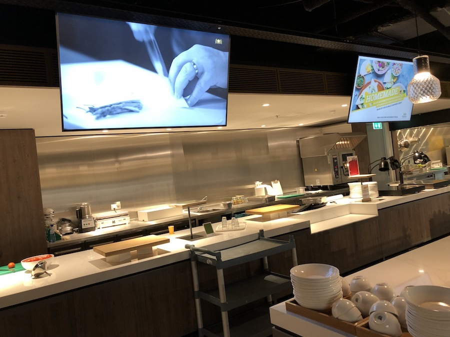 LED screens serve as menu boards in Microsoft office cafeterias