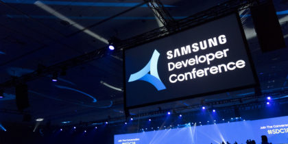 A packed theater at the Samsung Developers Conference