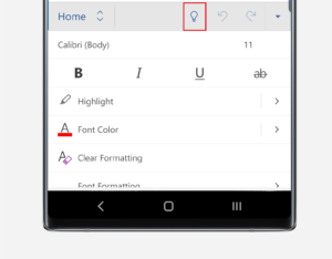 Cortana button in Word on Note10