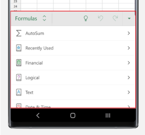 Formula menu in Excel on Note10