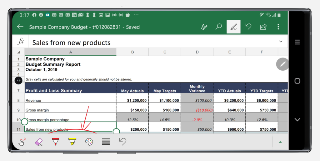 Excel in landscape mode on Note10