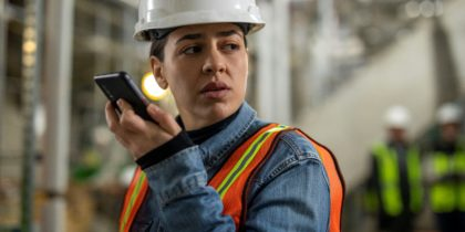 Field worker communicating with push-to-talk with Samsung Galaxy XCover Pro
