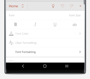 PowerPoint Home menu on Note10