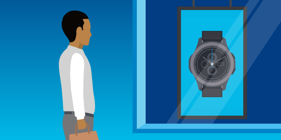 A digital illustration of a man looking at a store screen advertising a watch