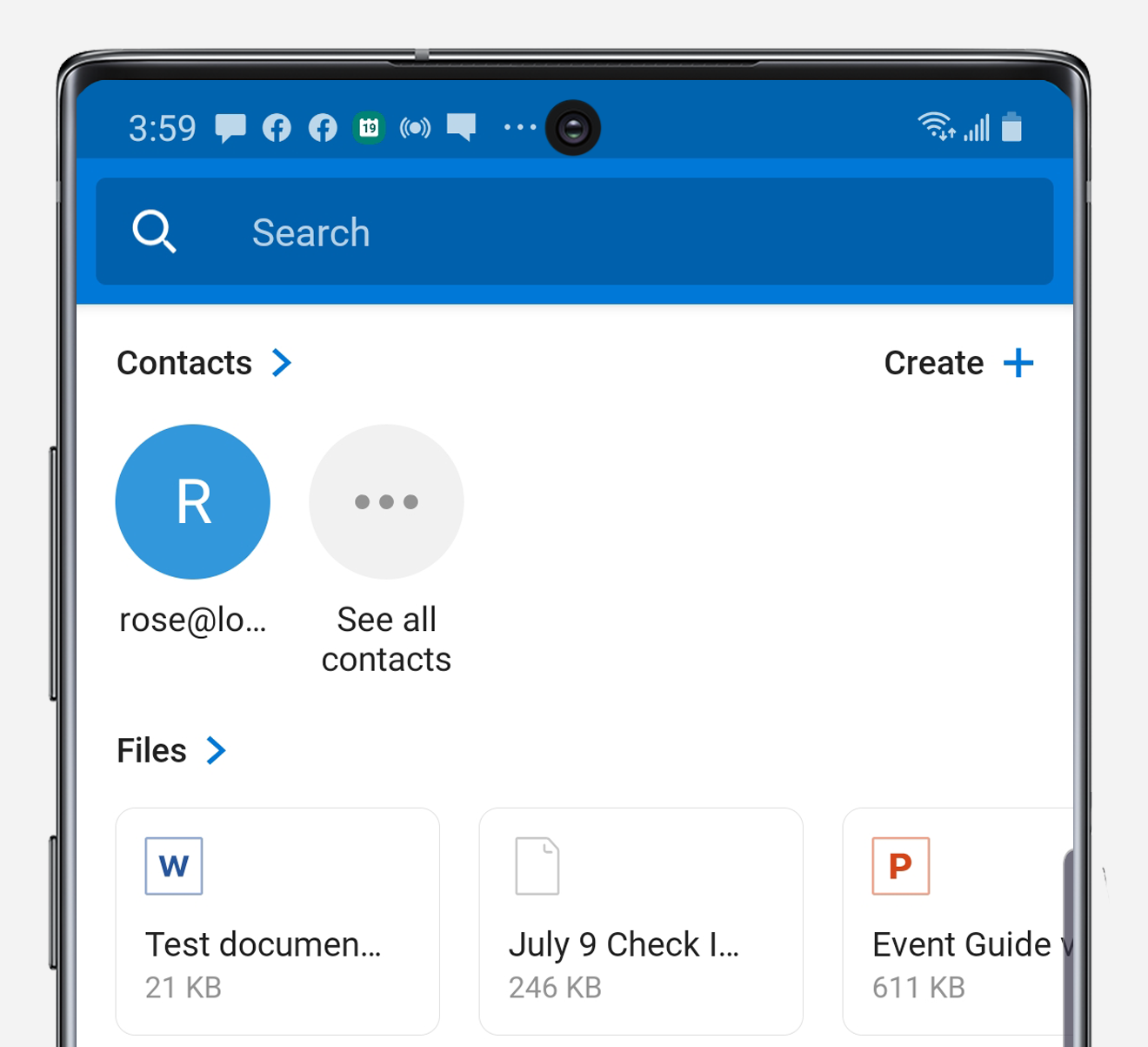 Outlook search on Note10