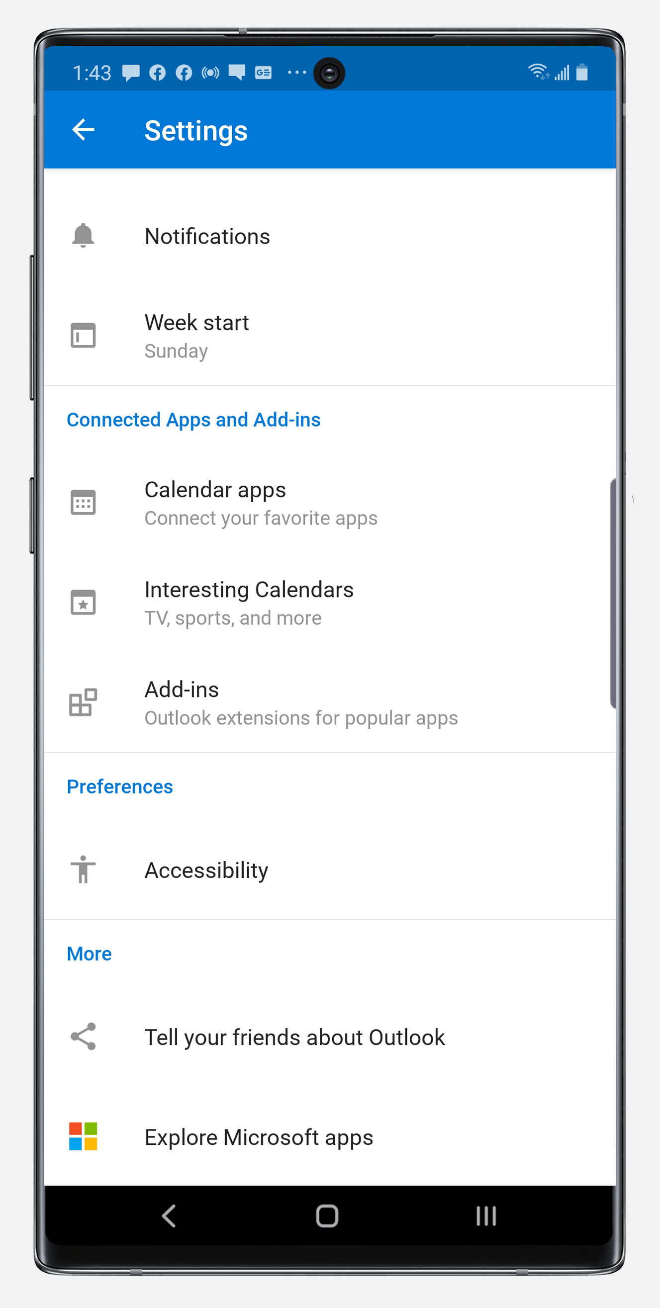 Outlook settings panel on Note10