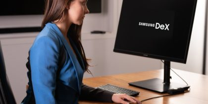 Woman studying at home using Samsung DeX