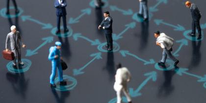 Workers in various industries social distancing